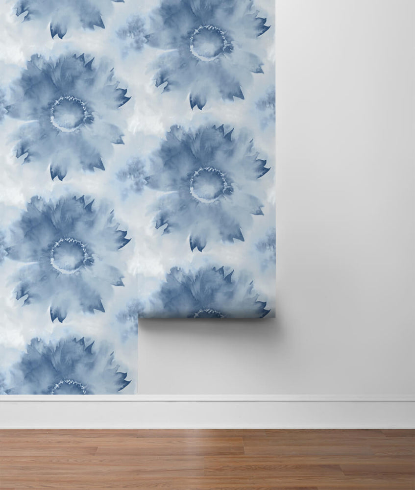 NW35602 blue watercolor sunflower floral peel and stick removable wallpaper roll by NextWall