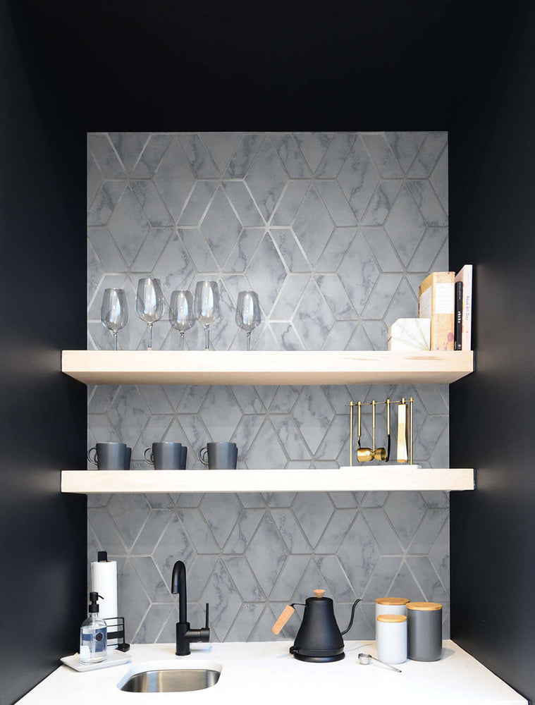 NW35700 metallic silver marble tile peel and stick wallpaper wet bar by NextWall
