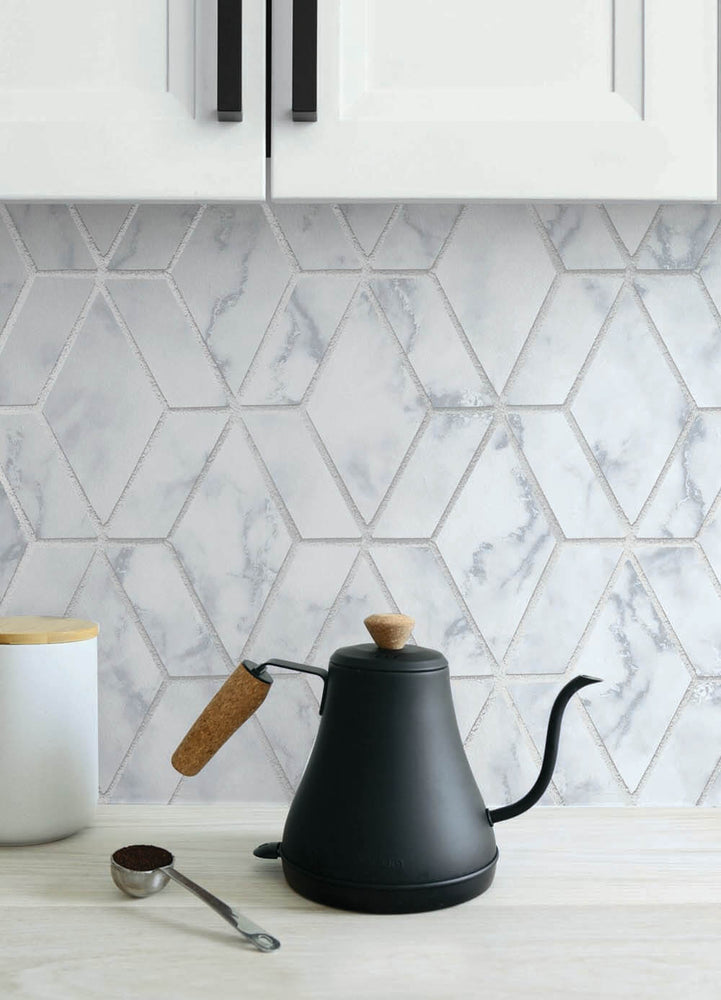 NW35700 metallic silver marble tile peel and stick wallpaper backsplash by NextWall