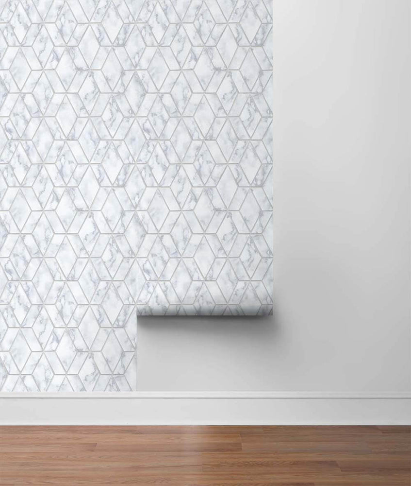 NW35700 metallic silver marble tile peel and stick wallpaper roll by NextWall