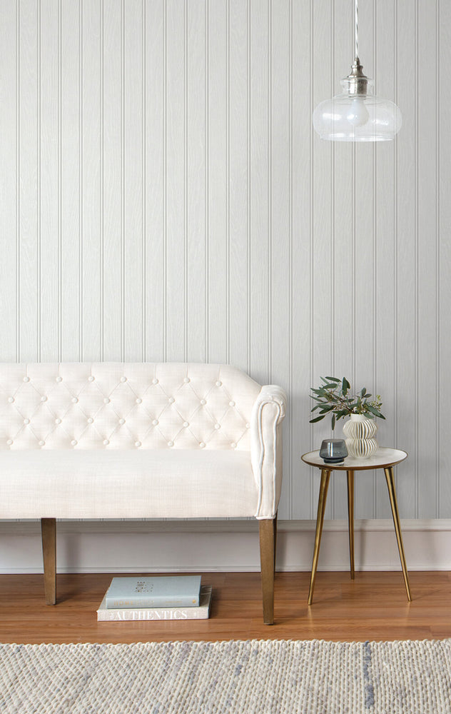 NW35800 Faux beadboard peel and stick removable wallpaper living room from NextWall