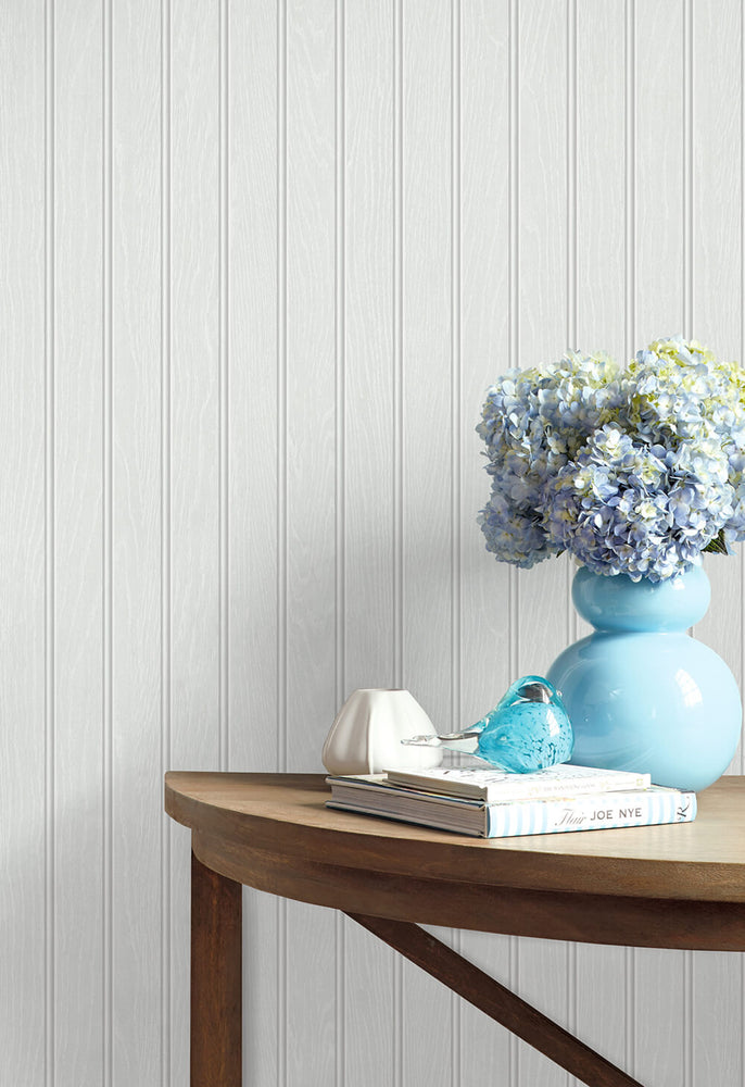NW35800 Faux beadboard peel and stick removable wallpaper decor from NextWall