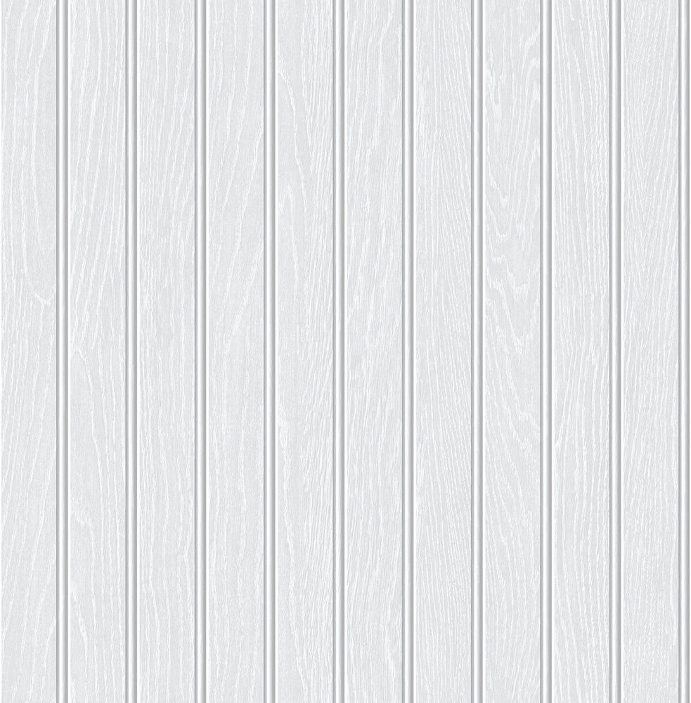NextWall Pearl Gray Faux Beadboard Peel and Stick Removable Wallpaper