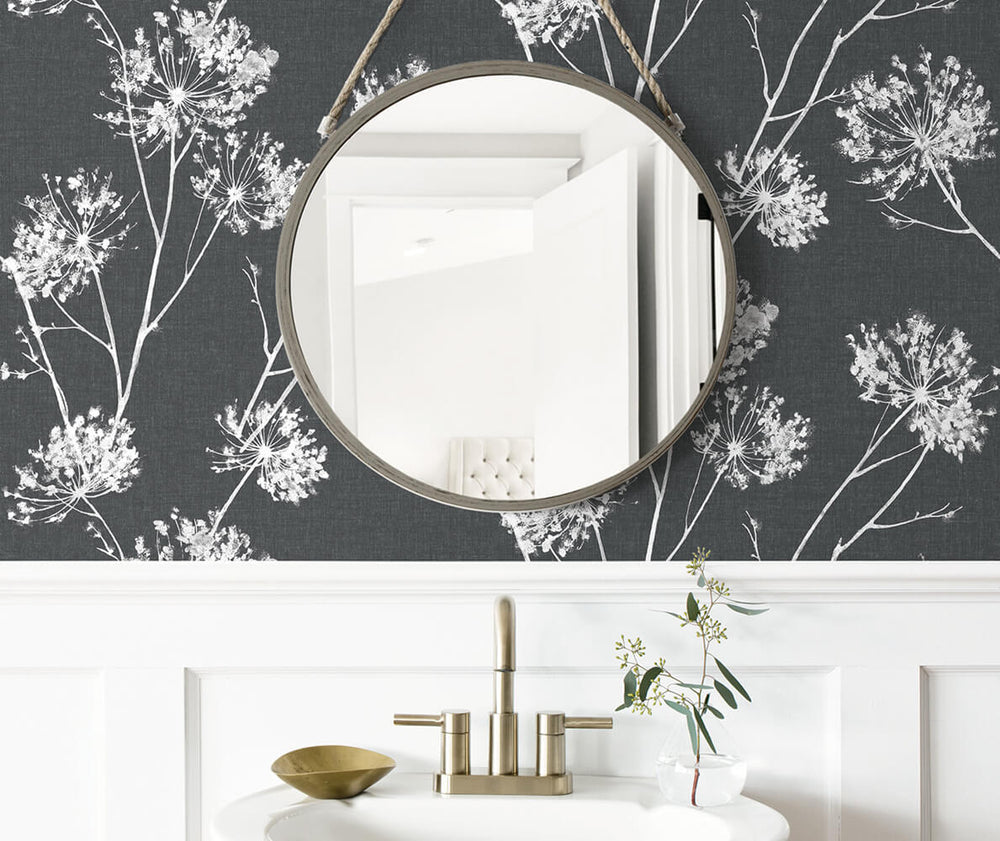 NW36000 one o'clock botanical peel and stick removable wallpaper bathroom from NextWall