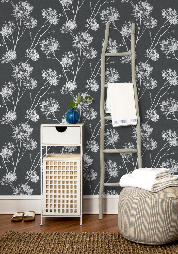 NW36000 one o'clock botanical peel and stick removable wallpaper decor from NextWall