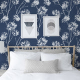 NW36002 one o'clock botanical peel and stick removable wallpaper bedroom from NextWall