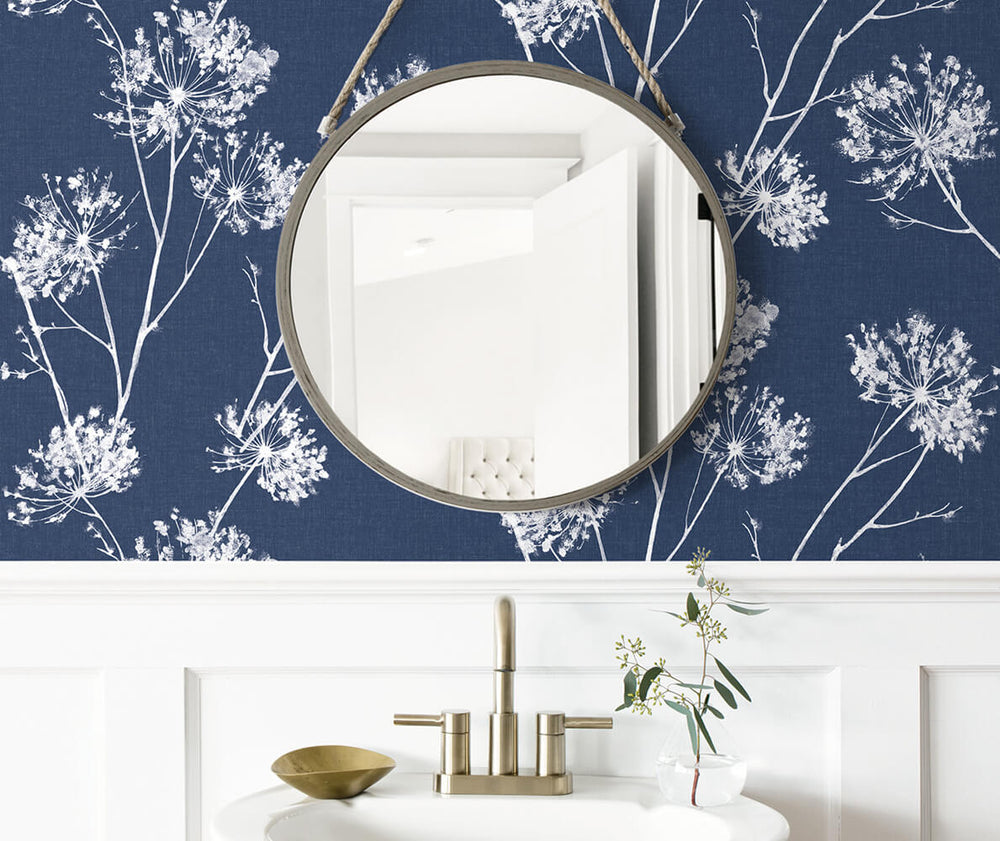 NW36002 one o'clock botanical peel and stick removable wallpaper bathroom from NextWall