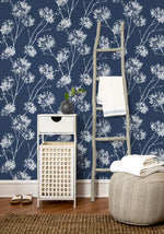 NW36002 one o'clock botanical peel and stick removable wallpaper decor from NextWall