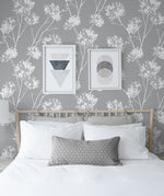 NW36008 one o'clock botanical peel and stick removable wallpaper bedroom from NextWall