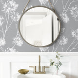 NW36008 one o'clock botanical peel and stick removable wallpaper bathroom from NextWall