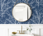 NW36102 blue tree branch botanical peel and stick removable wallpaper bathroom by NextWall