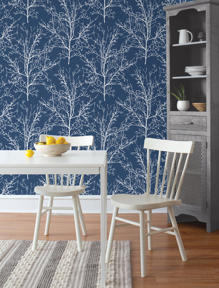 NW36102 blue tree branch botanical peel and stick removable wallpaper kitchen by NextWall
