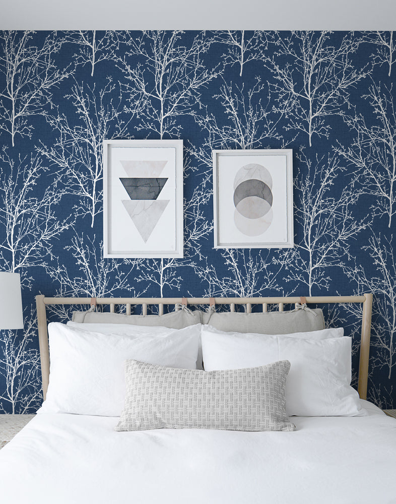 NW36102 blue tree branch botanical peel and stick removable wallpaper bedroom by NextWall
