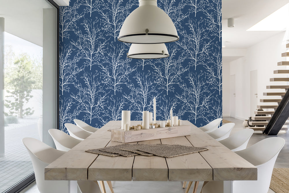 NW36102 blue tree branch botanical peel and stick removable wallpaper dining room by NextWall