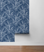 NW36102 blue tree branch botanical peel and stick removable wallpaper roll by NextWall