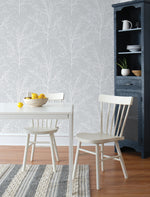 NW36108 gray tree branch botanical peel and stick removable wallpaper kitchen by NextWall