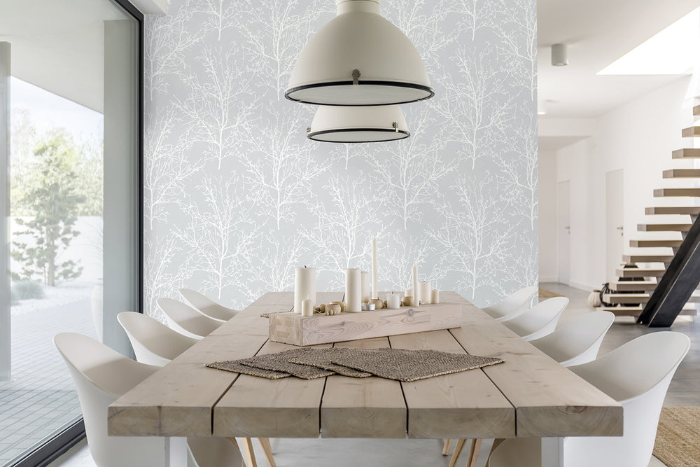 NW36108 gray tree branch botanical peel and stick removable wallpaper dining room by NextWall