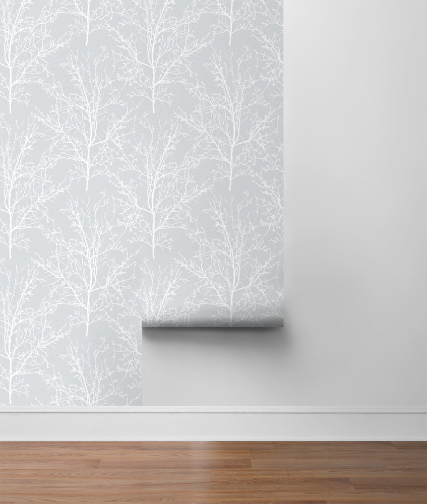NW36108 gray tree branch botanical peel and stick removable wallpaper roll by NextWall