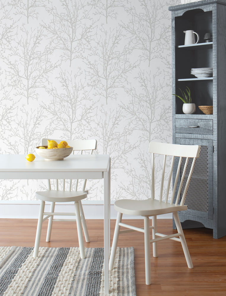 NW36118 gray tree branch botanical peel and stick removable wallpaper kitchen by NextWall