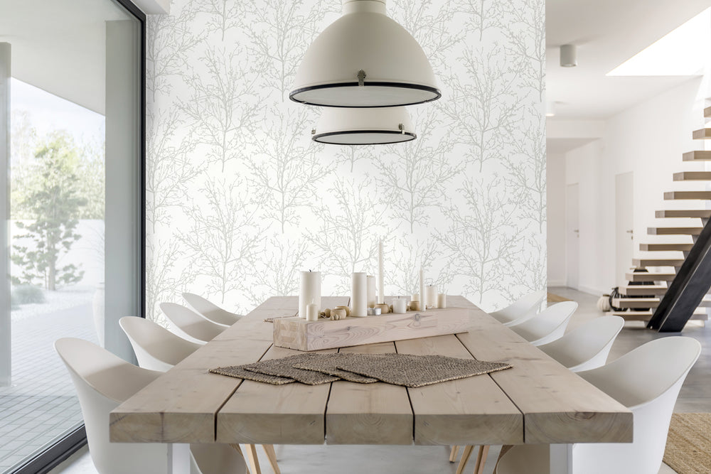 NW36118 gray tree branch botanical peel and stick removable wallpaper dining room by NextWall