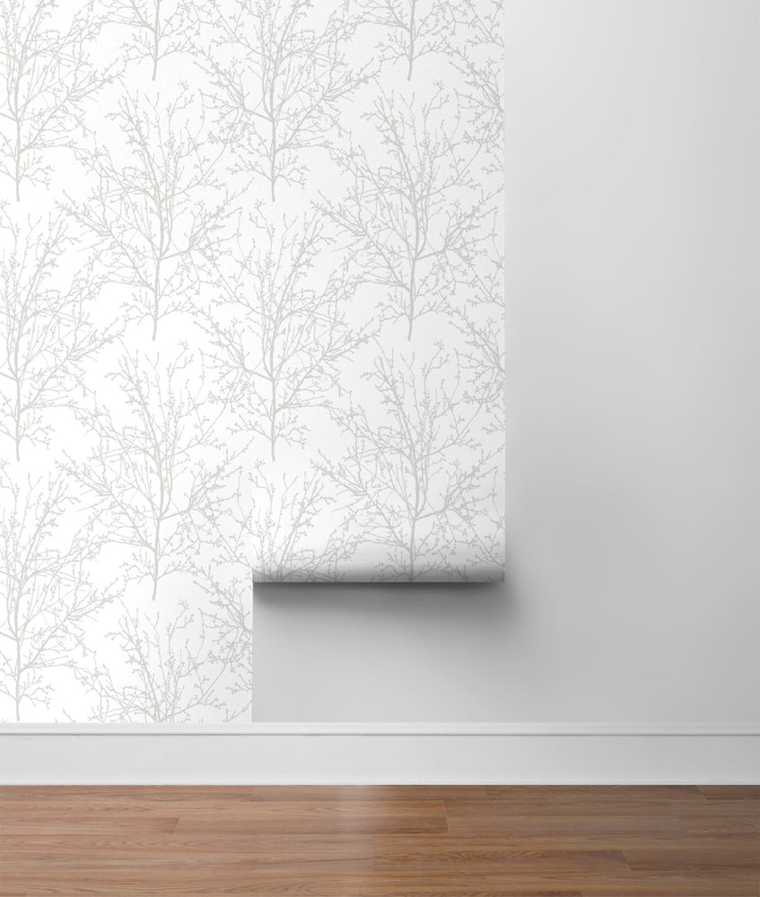 NW36118 gray tree branch botanical peel and stick removable wallpaper roll by NextWall