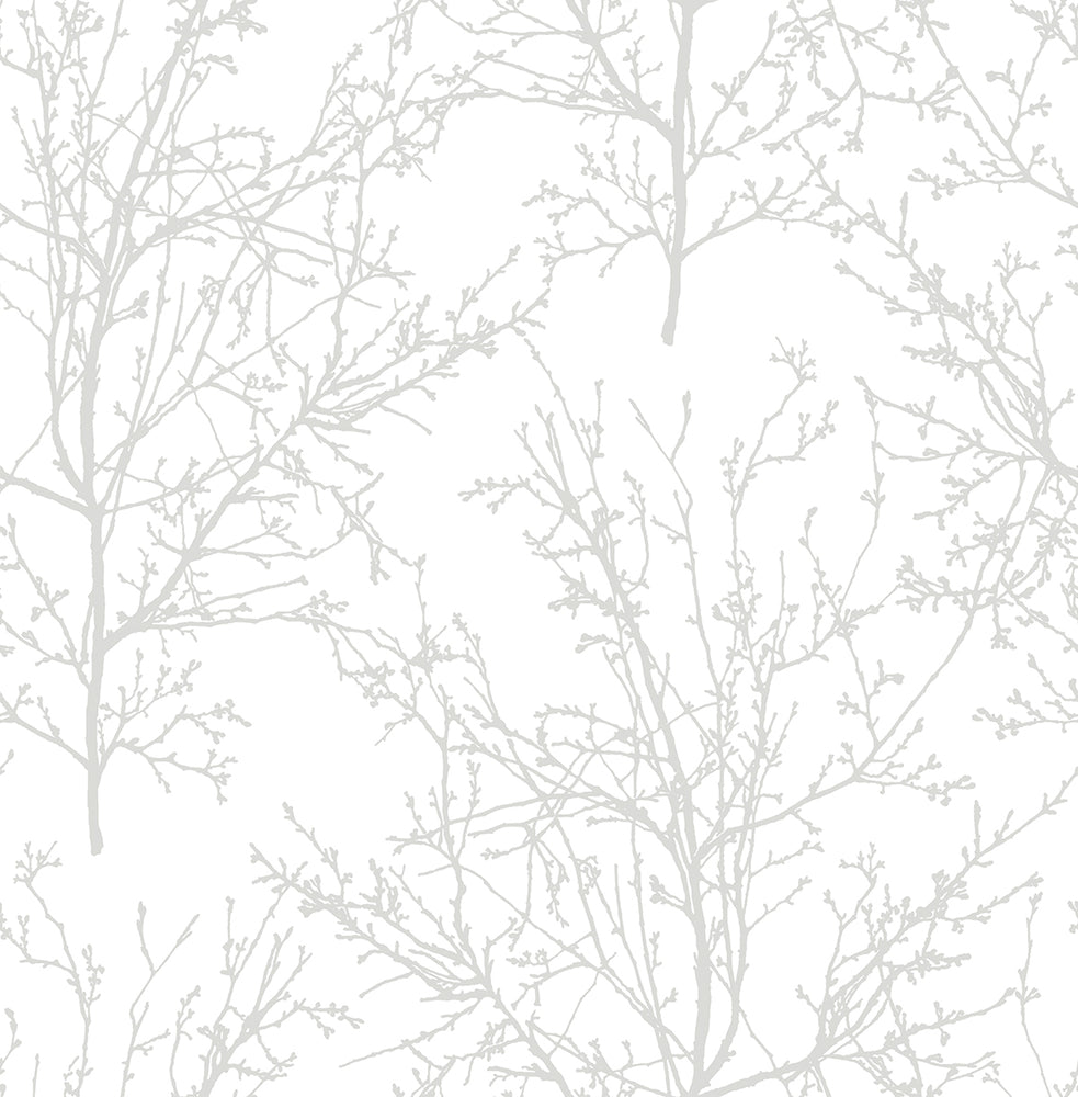 NW36118 gray tree branch botanical peel and stick removable wallpaper by NextWall