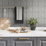 NW36200 faux embossed tile peel and stick removable wallpaper kitchen from NextWall