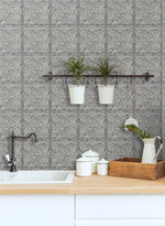 NW36200 faux embossed tile peel and stick removable wallpaper backsplash from NextWall
