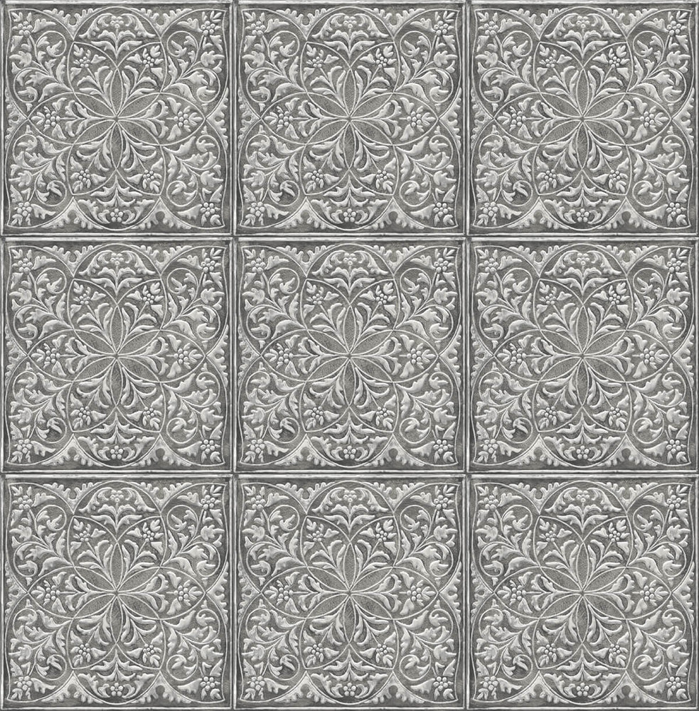 NextWall Faux Embossed Tile Peel and Stick Removable Wallpaper