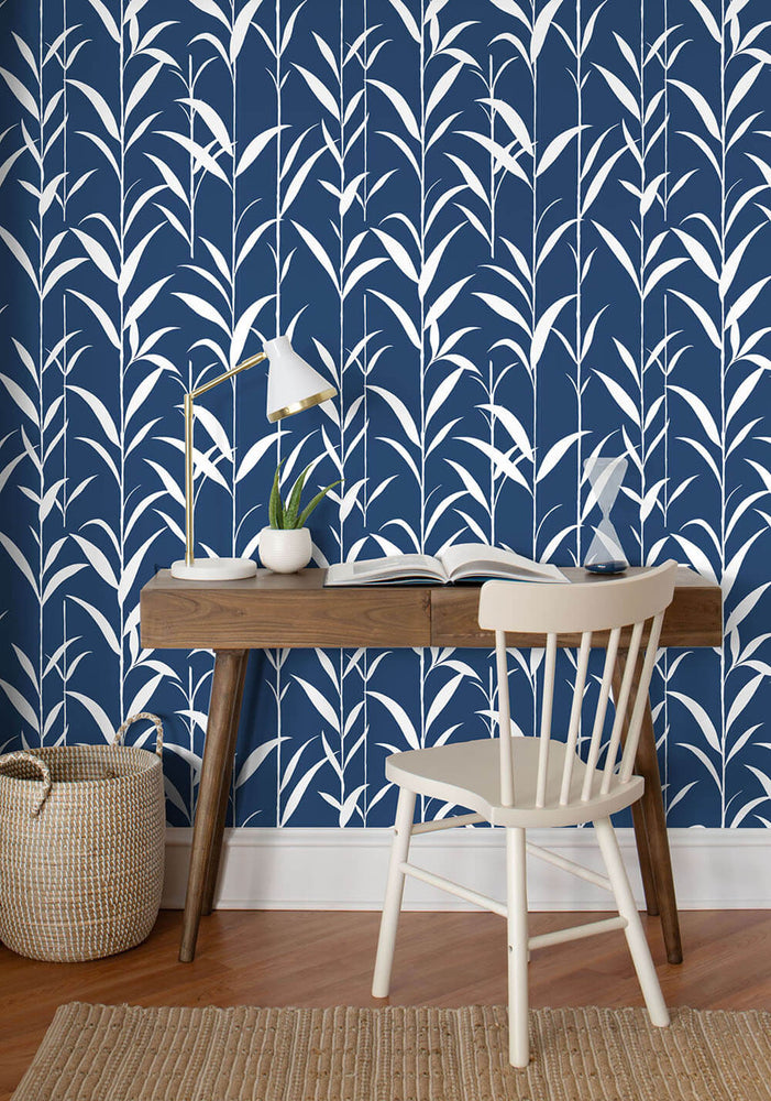 NW36402 bamboo leaf botanical peel and stick removable wallpaper office by NextWall