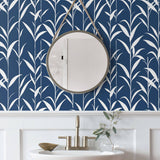 NW36402 bamboo leaf botanical peel and stick removable wallpaper bathroom by NextWall