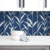 NW36402 bamboo leaf botanical peel and stick removable wallpaper kitchen by NextWall