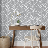 NW36408 bamboo leaf botanical peel and stick removable wallpaper office by NextWall