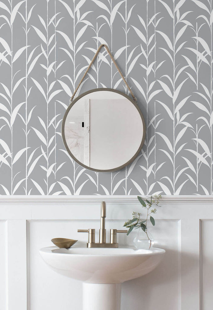 NW36408 bamboo leaf botanical peel and stick removable wallpaper bathroom by NextWall