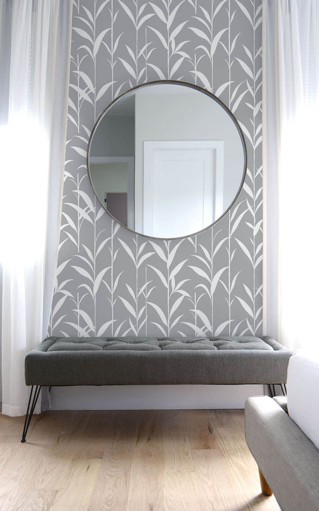 NW36408 bamboo leaf botanical peel and stick removable wallpaper bedroom by NextWall
