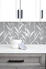 NW36408 bamboo leaf botanical peel and stick removable wallpaper kitchen by NextWall