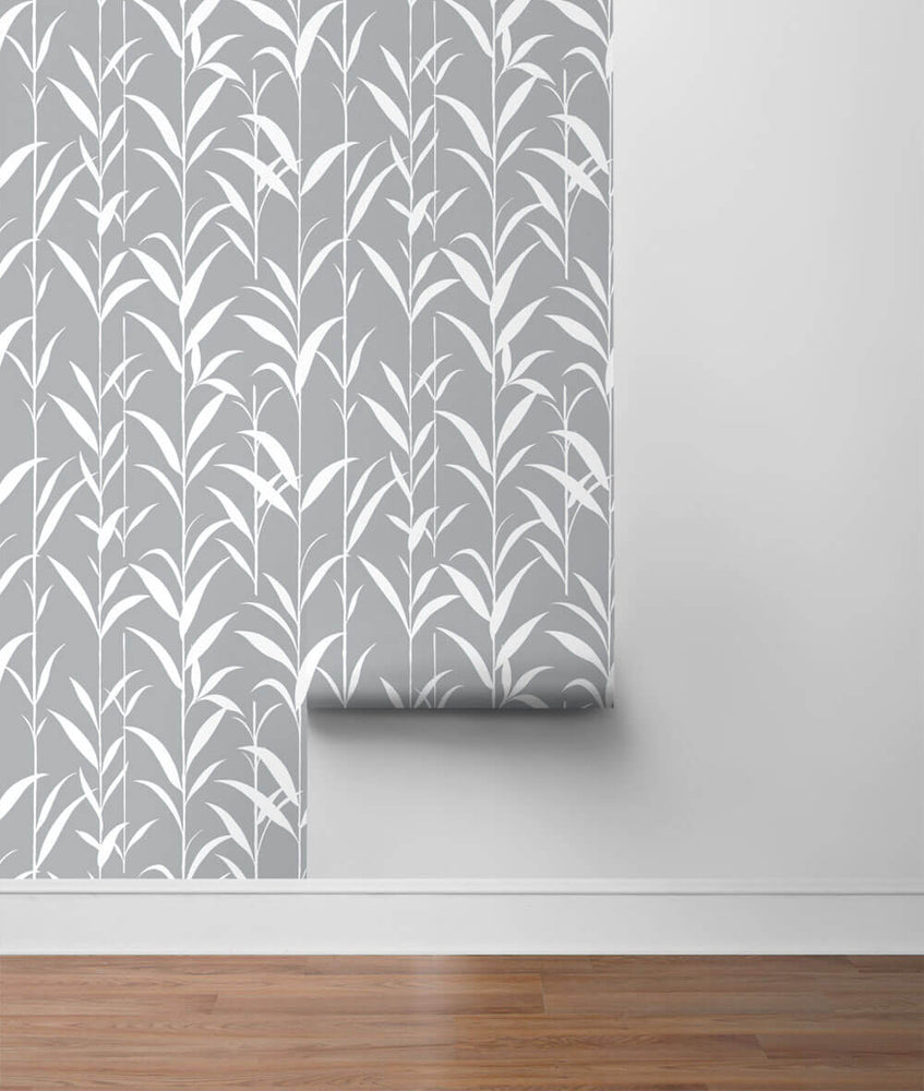 NW36408 bamboo leaf botanical peel and stick removable wallpaper roll by NextWall