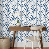 NW36412 bamboo leaf botanical peel and stick removable wallpaper desk by NextWall
