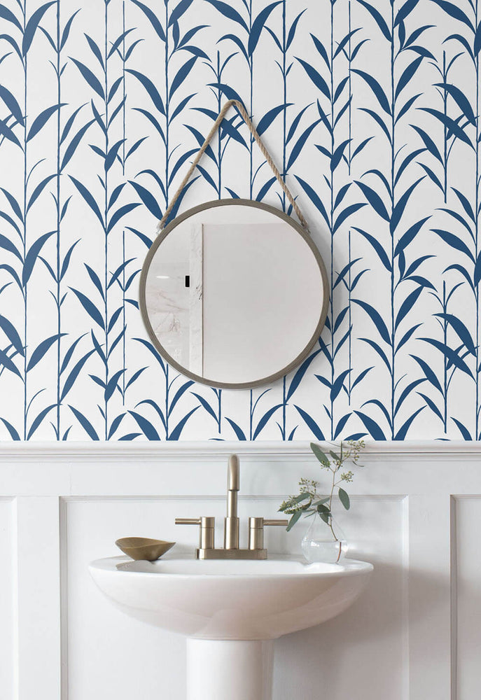 NW36412 bamboo leaf botanical peel and stick removable wallpaper bathroom by NextWall