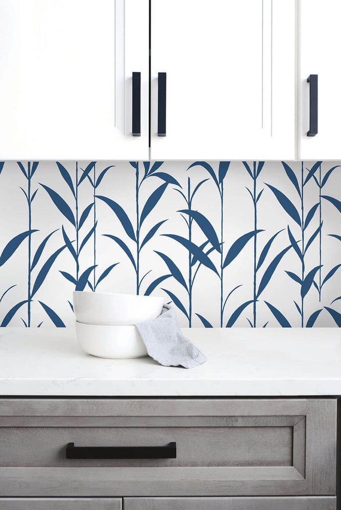 NW36412 bamboo leaf botanical peel and stick removable wallpaper backsplash by NextWall
