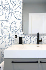 NW36502 tossed leaves botanical peel and stick removable wallpaper bathroom by NextWall
