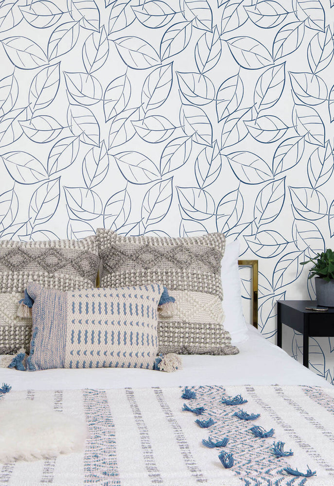 NW36502 tossed leaves botanical peel and stick removable wallpaper bedroom by NextWall