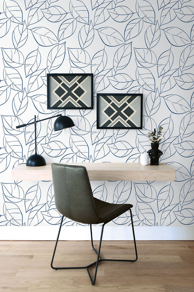 NW36502 tossed leaves botanical peel and stick removable wallpaper desk by NextWall