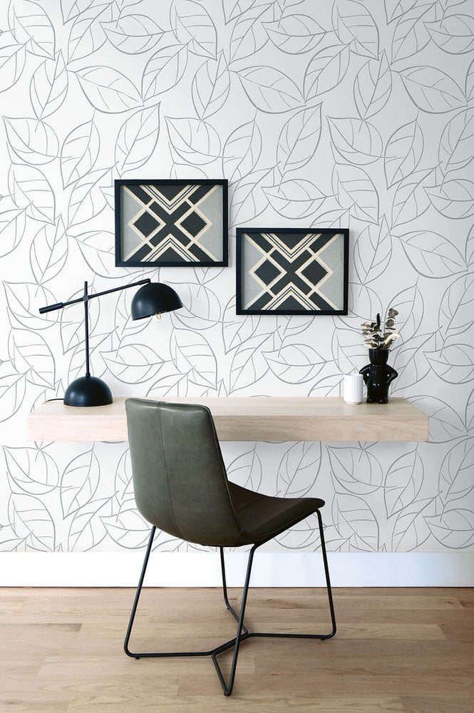 NW36508 tossed leaves botanical peel and stick removable wallpaper desk by NextWall