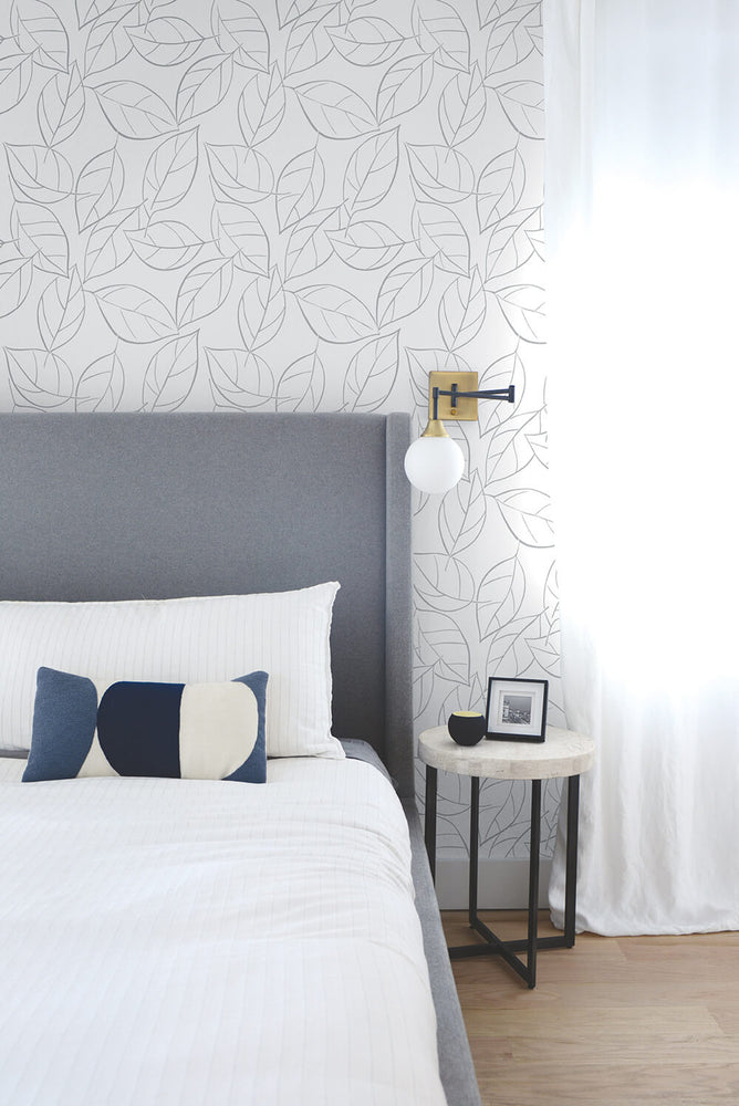 NW36508 tossed leaves botanical peel and stick removable wallpaper bedroom by NextWall
