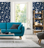 NW36602 chinoiserie silhouette botanical peel and stick wallpaper living room from NextWall