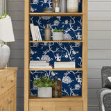 NW36602 chinoiserie silhouette botanical peel and stick wallpaper bookcase from NextWall