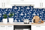 NW36602 chinoiserie silhouette botanical peel and stick wallpaper backsplash from NextWall