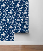 NW36602 chinoiserie silhouette botanical peel and stick wallpaper roll from NextWall
