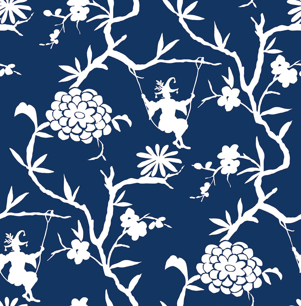 NW36602 chinoiserie silhouette botanical peel and stick wallpaper from NextWall